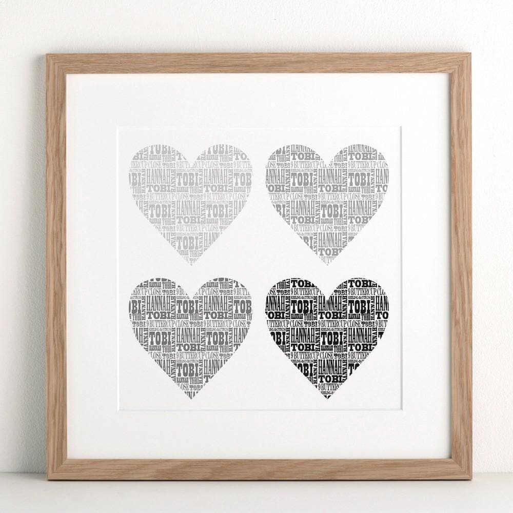 letterfest art Personalised Hearts Print