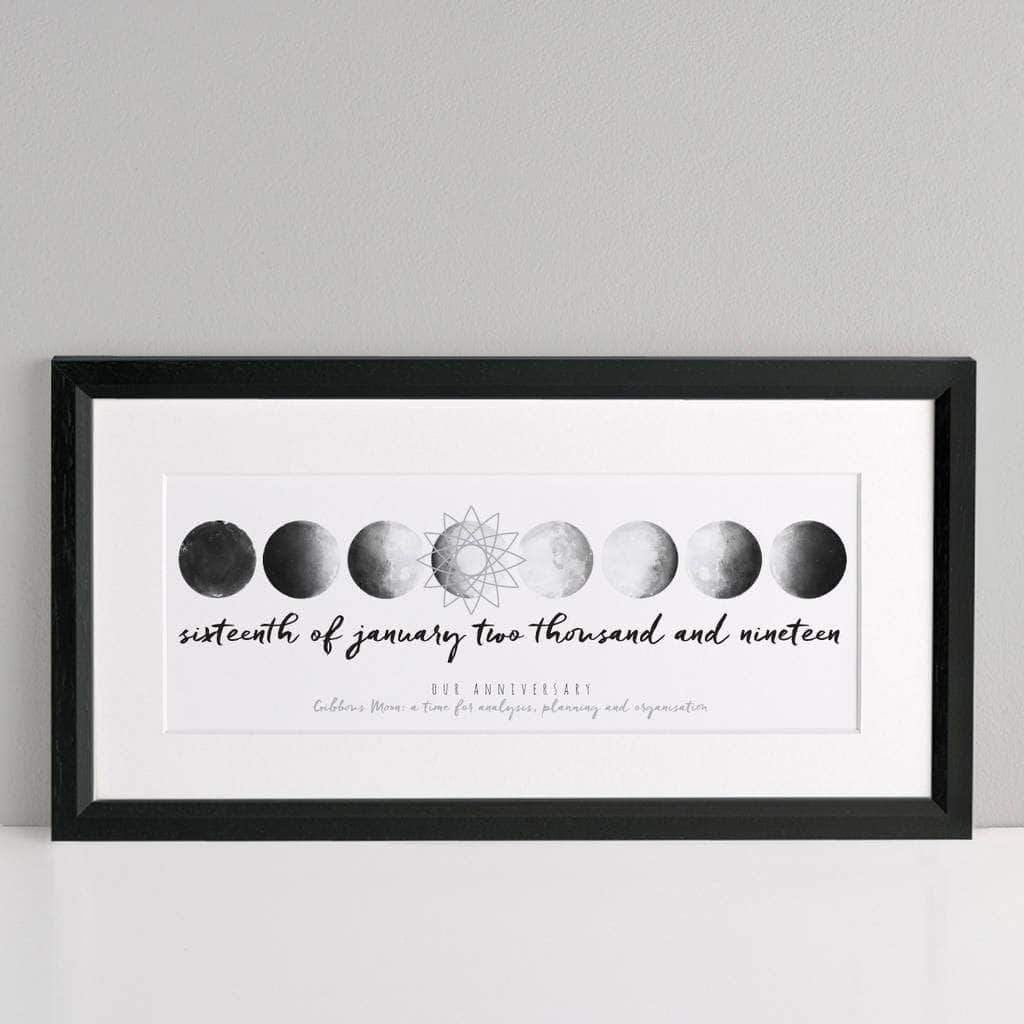 letterfest art Personalised Moon Date Print