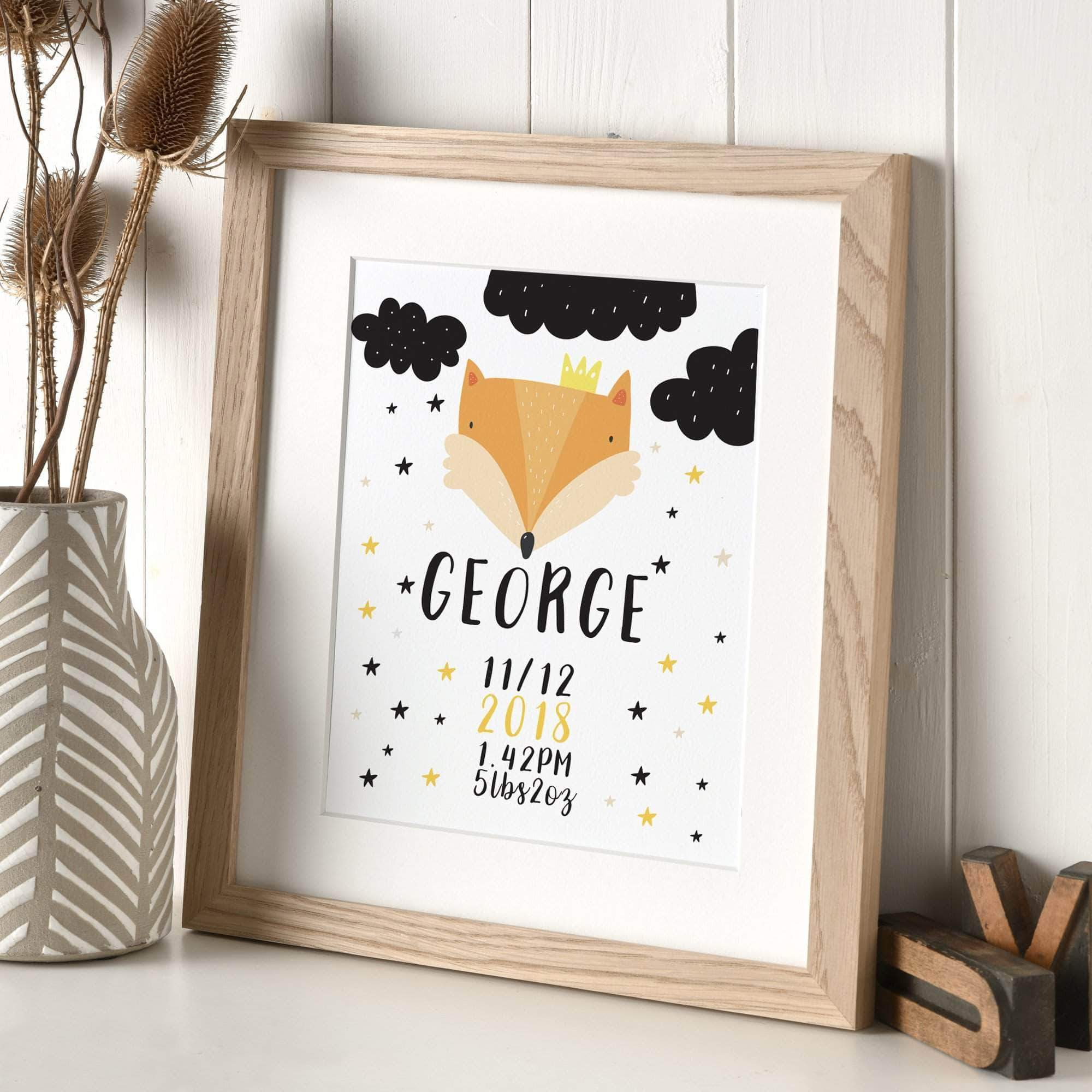 letterfest art Personalised Scandi Animal Print