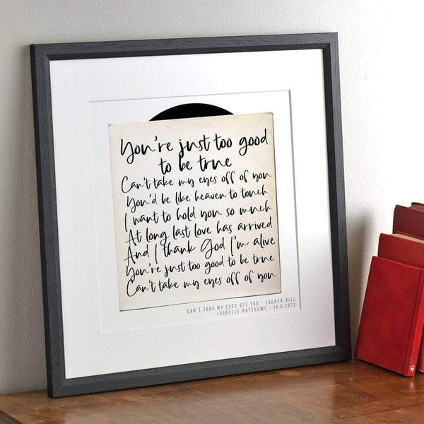 letterfest art Personalised Song Record Print