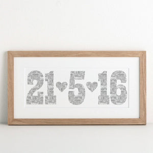 letterfest art Personalised Typographic Date Print