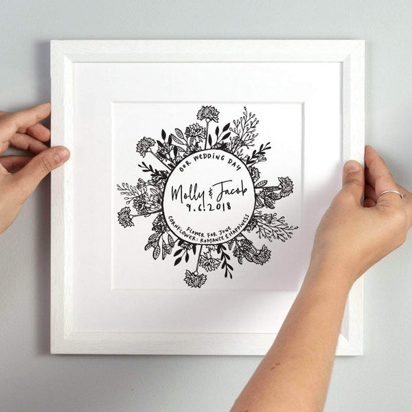 letterfest art Personalised Wedding Month Flower Print