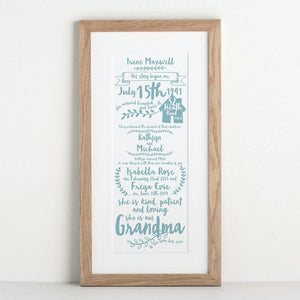 letterfest art Story Of My Grandparents Print