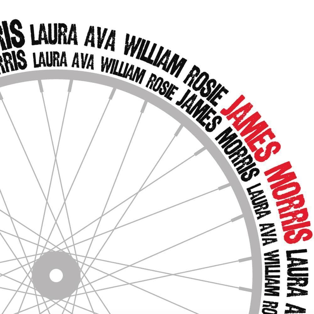 letterfest art Typographic Bike Wheel Print