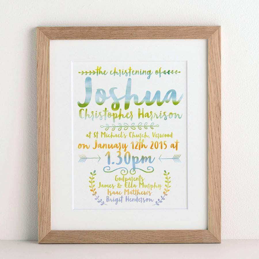 letterfest art Watercolour Christening Print