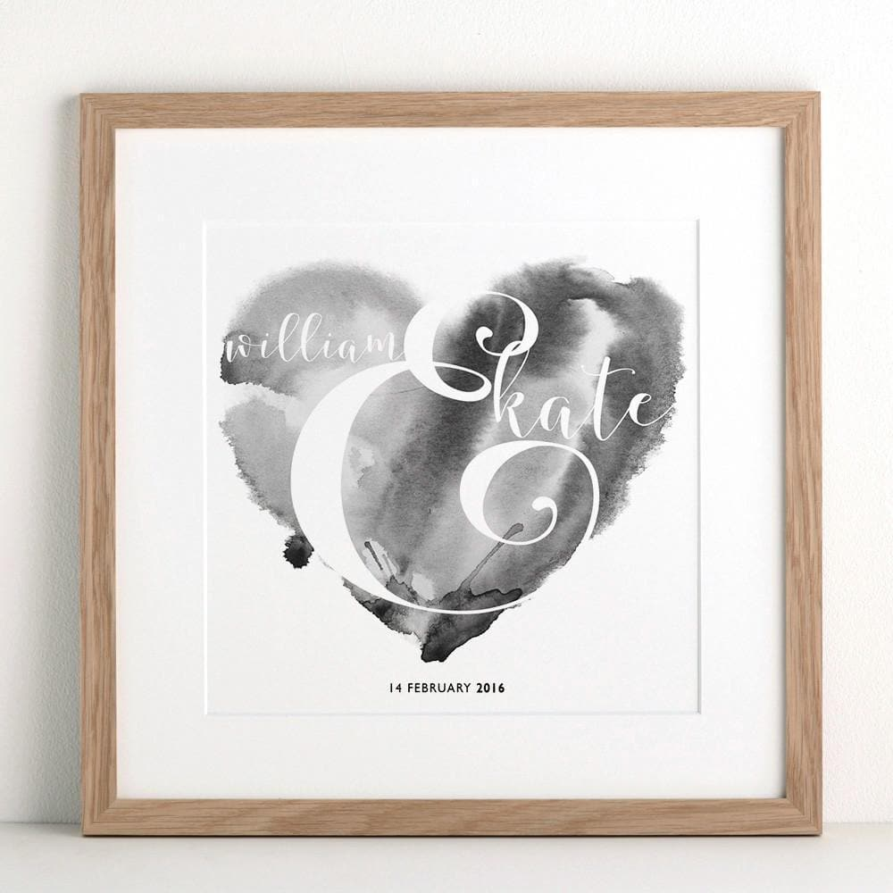 letterfest art Watercolour Heart Print