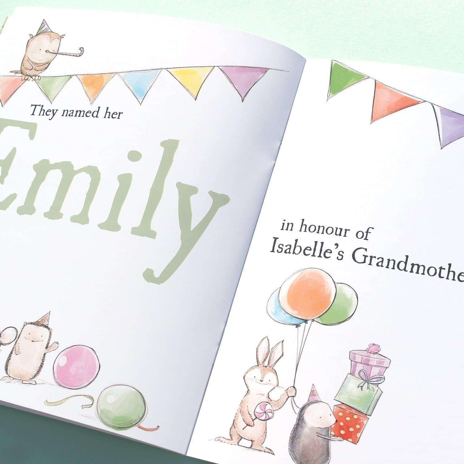 letterfest book Personalised Woodland New Baby Book