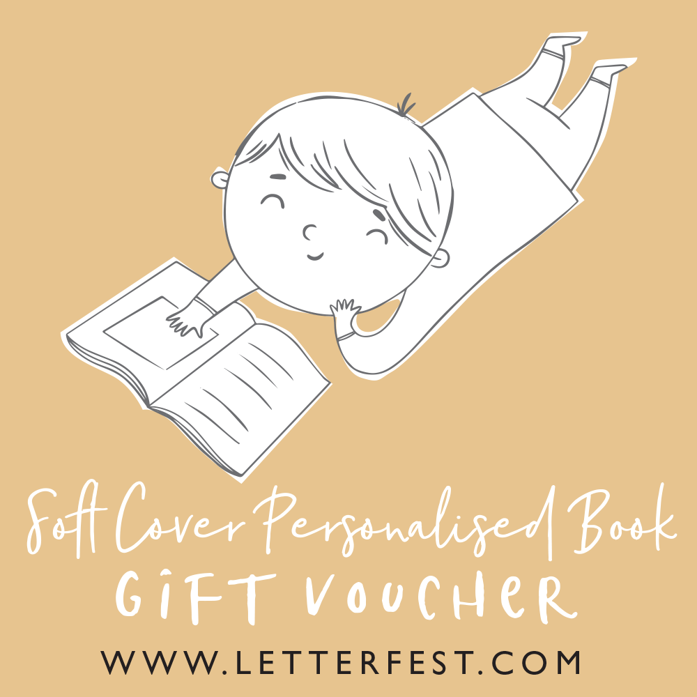 Letterfest book Soft back book voucher (inc UK shipping) - £23.75 Personalised Childrens Book gift voucher
