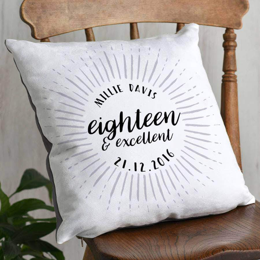 Eighteenth Birthday Celebration Cushion - decor - Letterfest