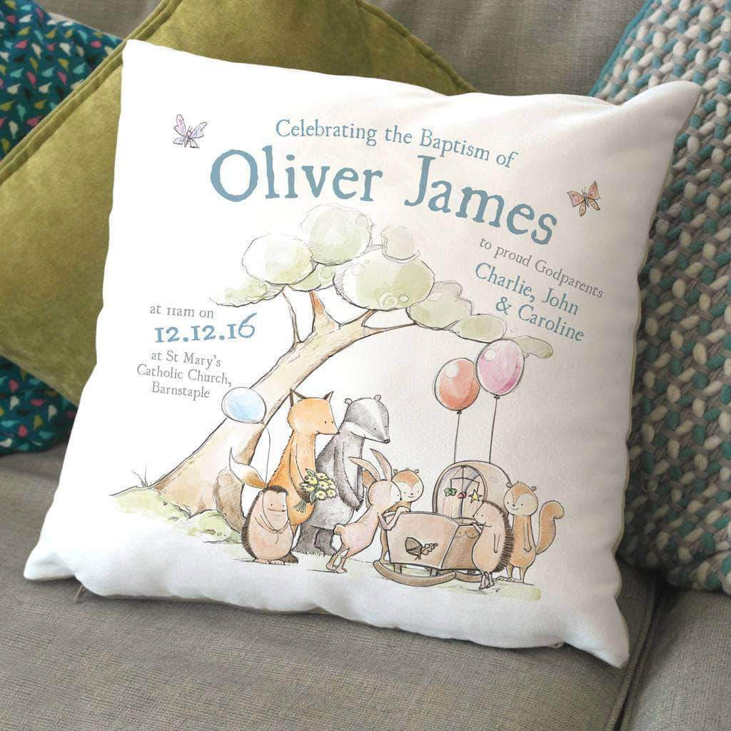 letterfest decor Personalised Animal Christening Cushion