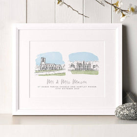 letterfest illustration Double Wedding Venue Watercolour Portrait