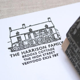 letterfest illustration Personalised House Illustration Stamp