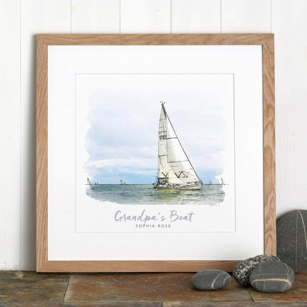 letterfest illustration Personalised Watercolour Boat Sketch