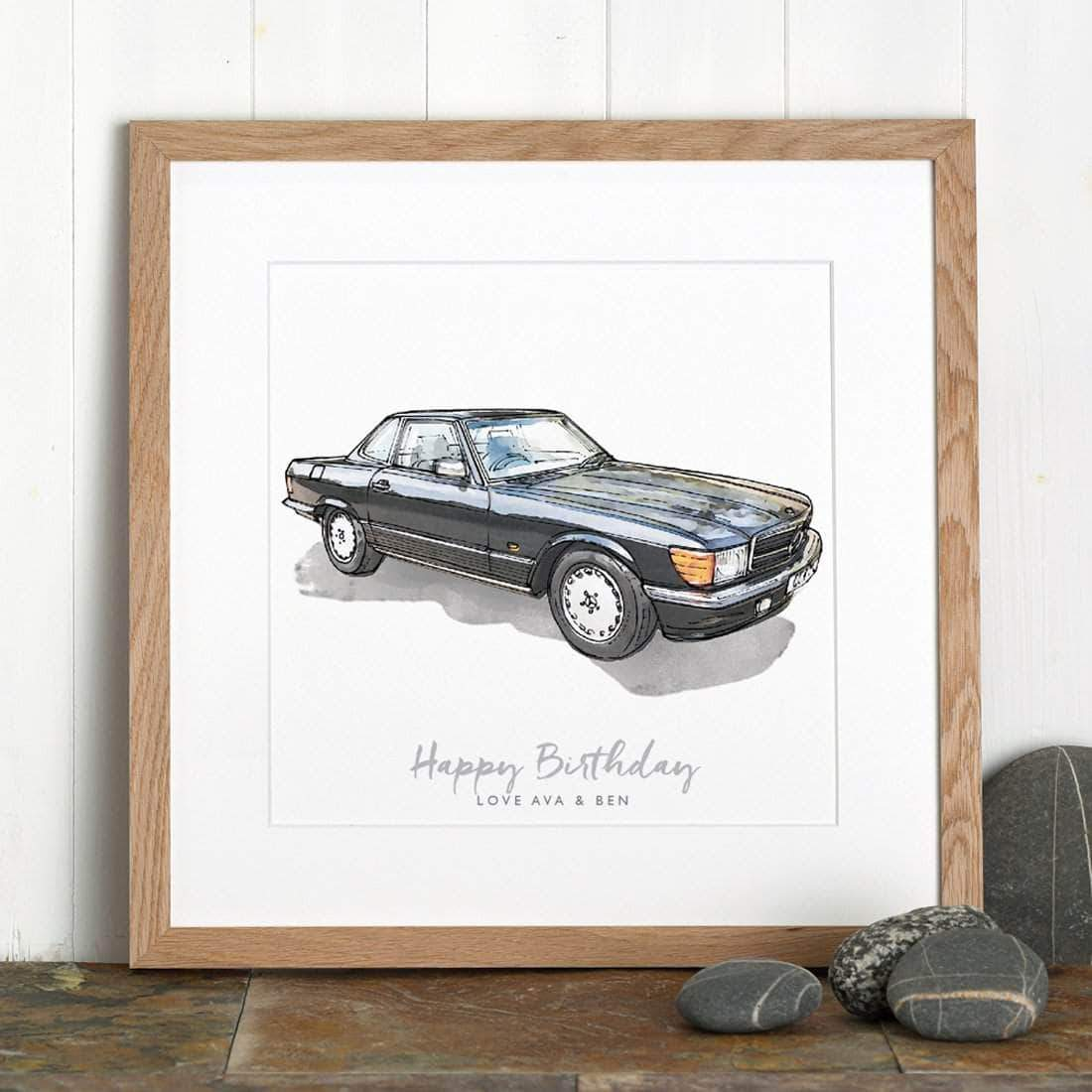 letterfest illustration Personalised Watercolour Car Sketch