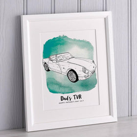 letterfest illustration Watercolour Car Line Drawing