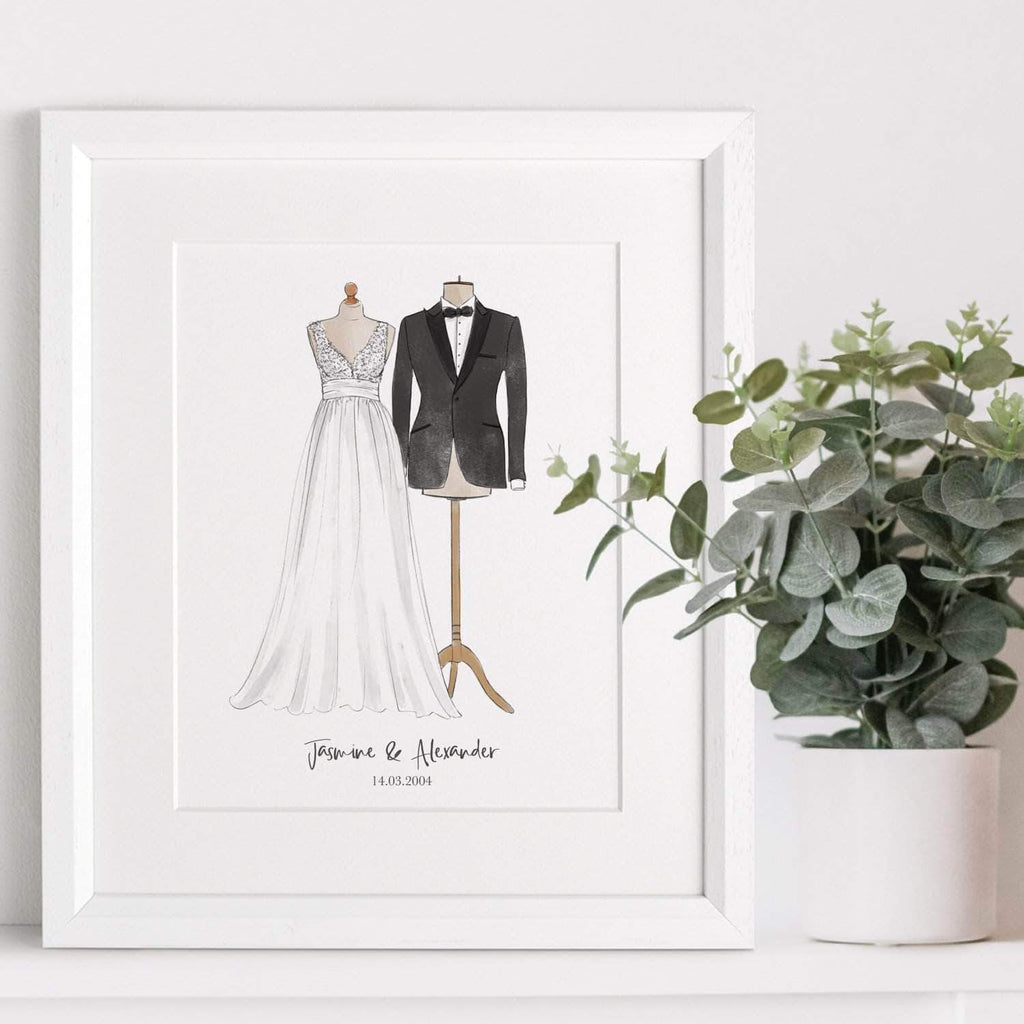 letterfest illustration Wedding Dress And Suit Illustration