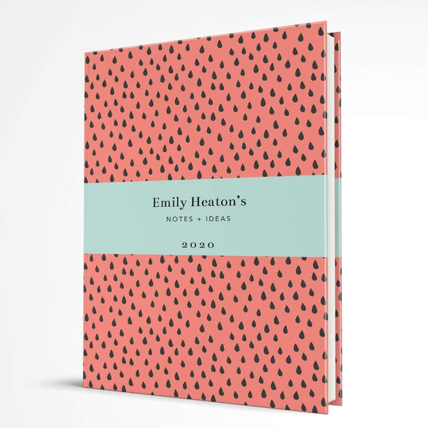 letterfest notebook Hardcover Coral Raindrops