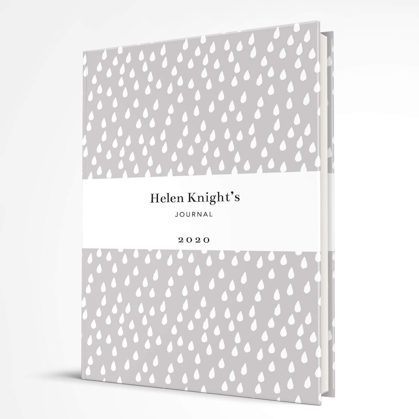 letterfest notebook Hardcover Grey Raindrops