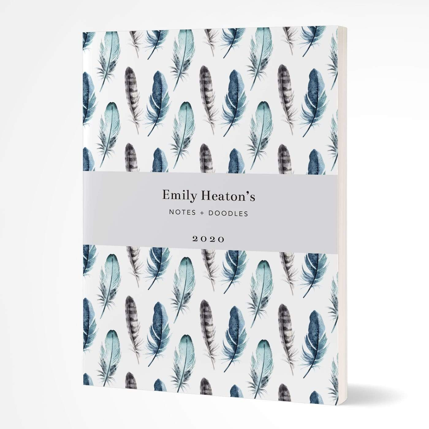 letterfest notebook Hardcover Watercolour Feathers