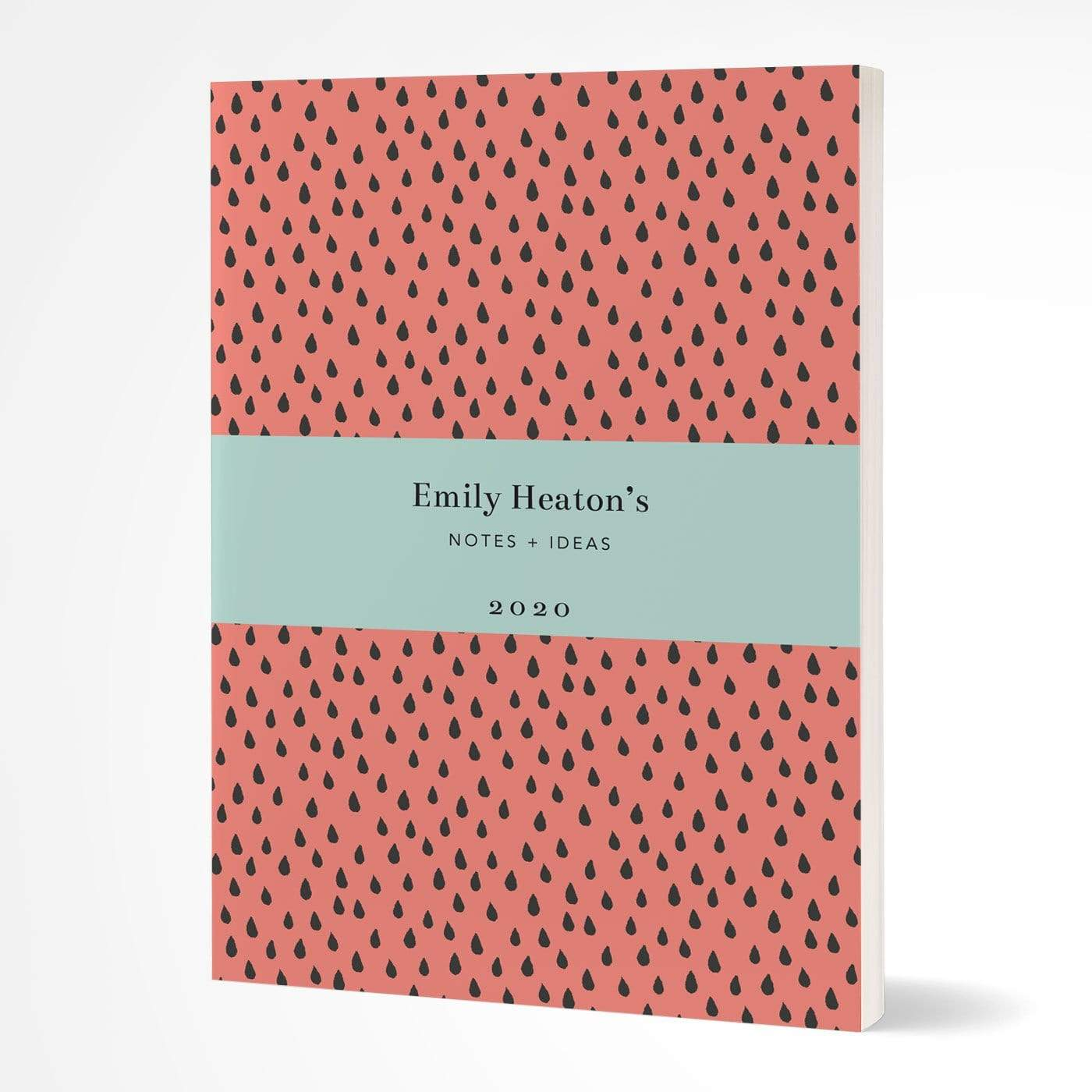 letterfest notebook Softcover Coral Raindrops