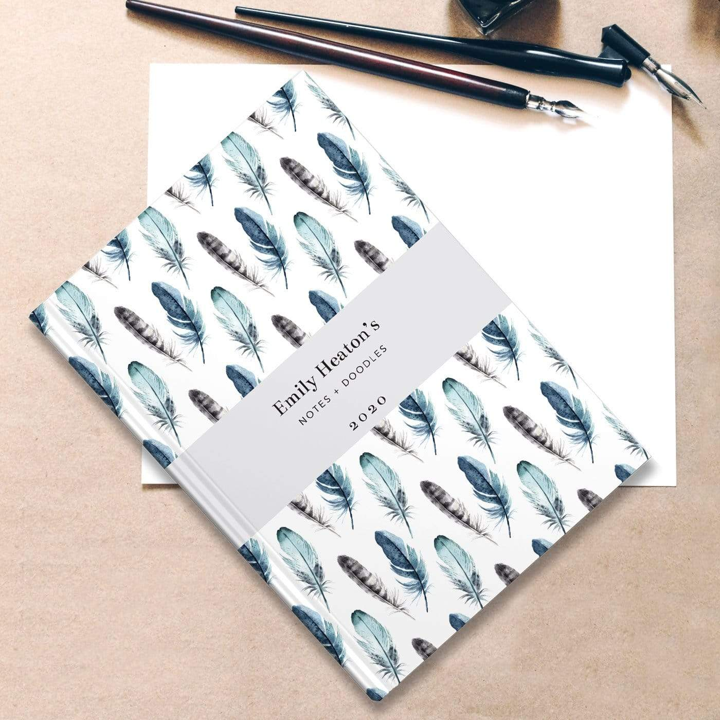 letterfest notebook Watercolour Feathers