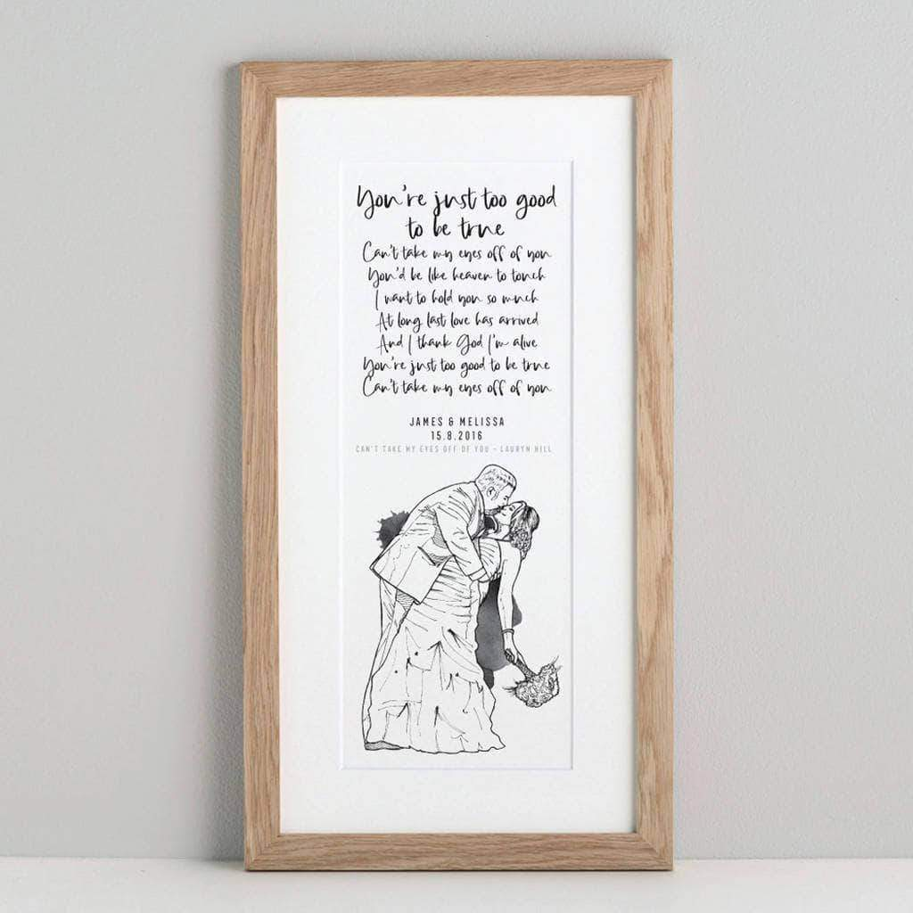 letterfest people Personalised Illustrated Poem Or Vows Print