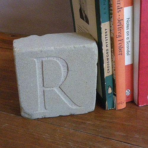 letterfest stone Engraved Initial Bookends