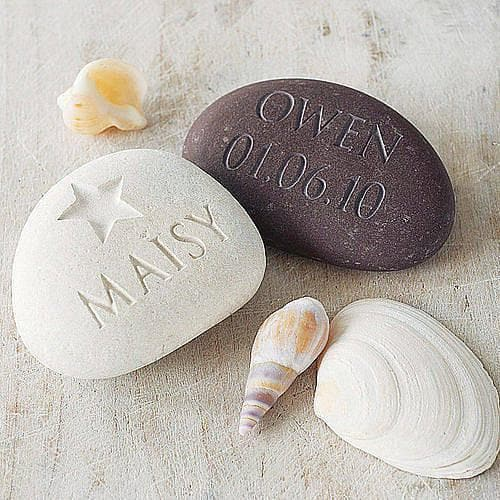 letterfest stone Engraved Name and Date Pebble