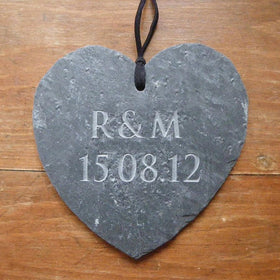 letterfest stone Engraved Slate Wedding Gift Heart
