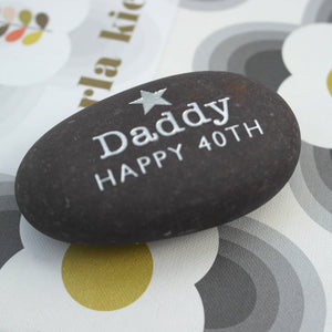 letterfest stone Gold or Silver Birthday Pebble