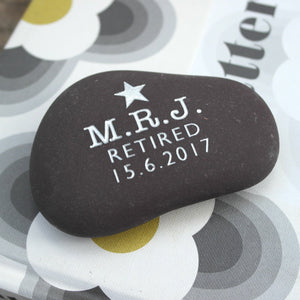 letterfest stone Gold or Silver Engraved Retirement Pebble