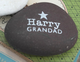 letterfest stone Gold or Silver Grandparent Pebble