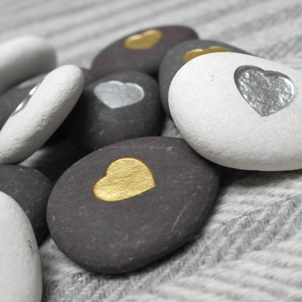letterfest stone Metallic Heart Pebble