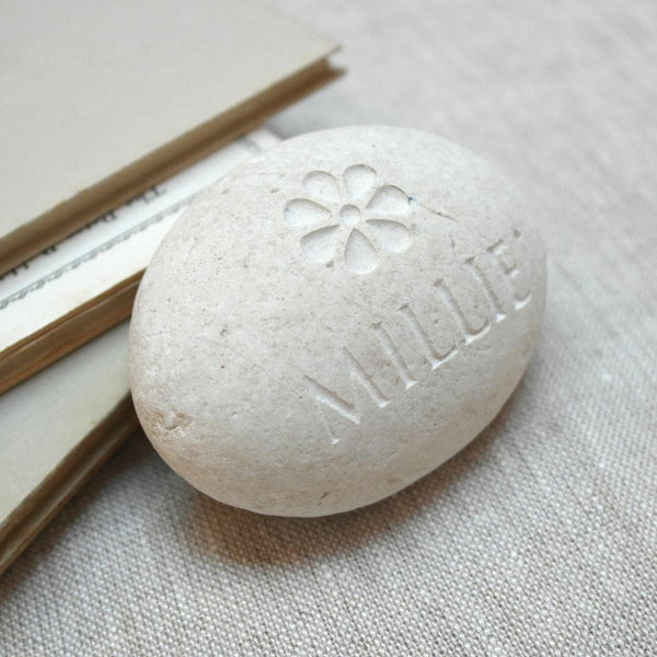 letterfest stone Personalised Baby Keepsake Flower Pebble