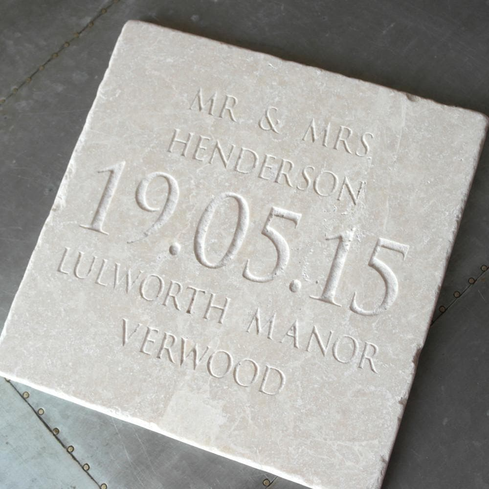letterfest stone Personalised Large Wedding Date Tile
