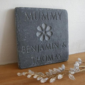 letterfest stone Personalised 'Mummy' Slate with Flower