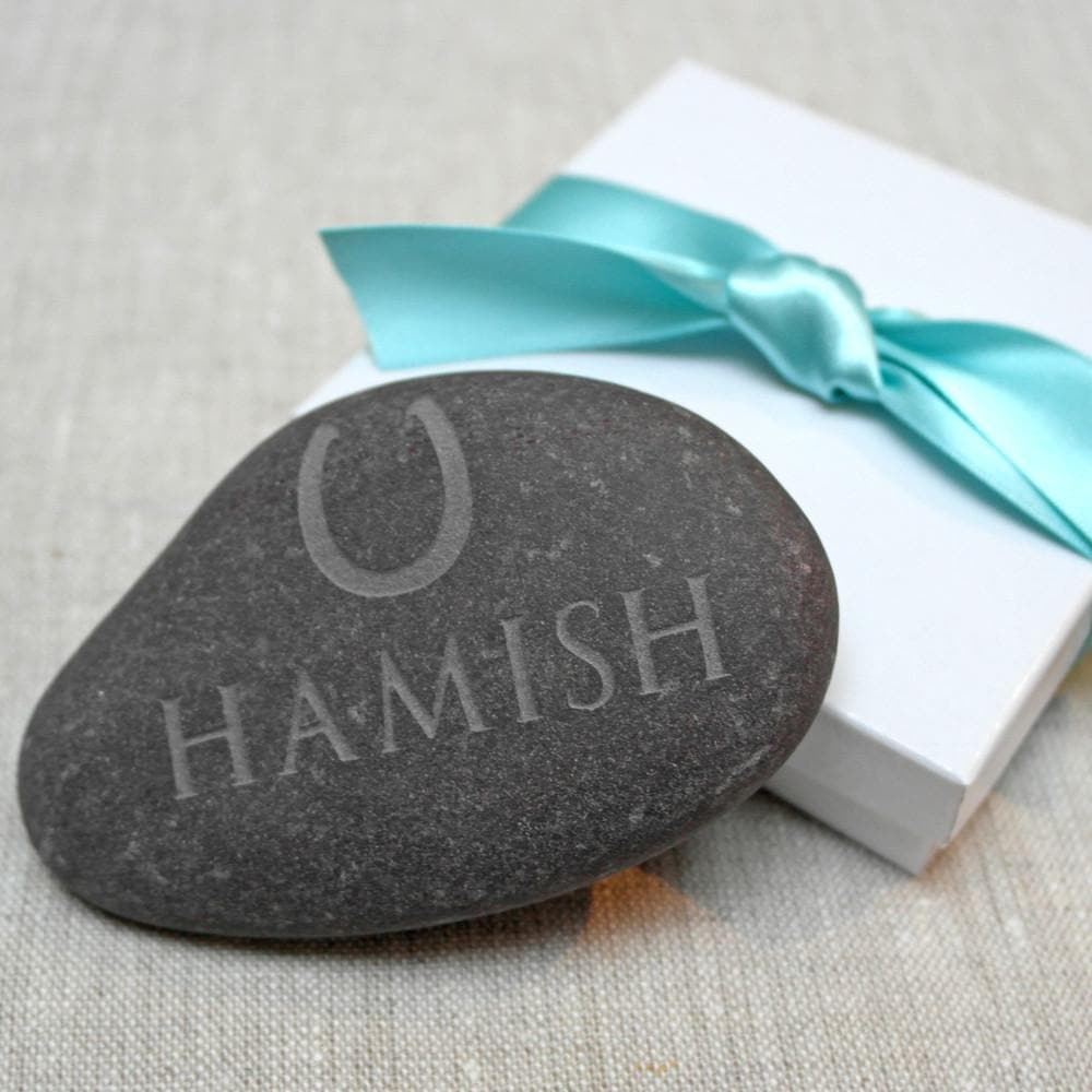 letterfest stone Personalised Pebble With Horse Shoe