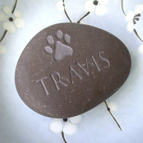letterfest stone Personalised Pet Pebble with Paw Print