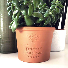 letterfest terracotta Engraved Bee Plant Pot