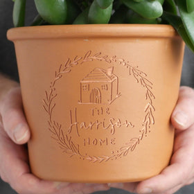 letterfest terracotta Engraved Family Home Pot