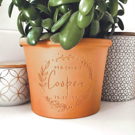 letterfest terracotta Engraved Handwritten Couples Pot