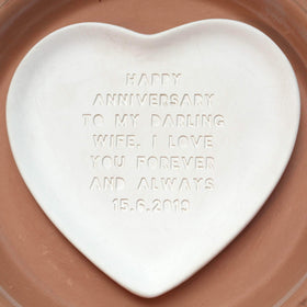 letterfest terracotta Engraved Heart Pottery Plate