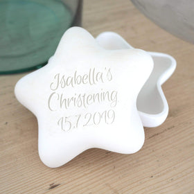letterfest terracotta Engraved Pottery Christening Star