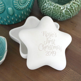 letterfest terracotta Engraved Pottery First Christmas Star