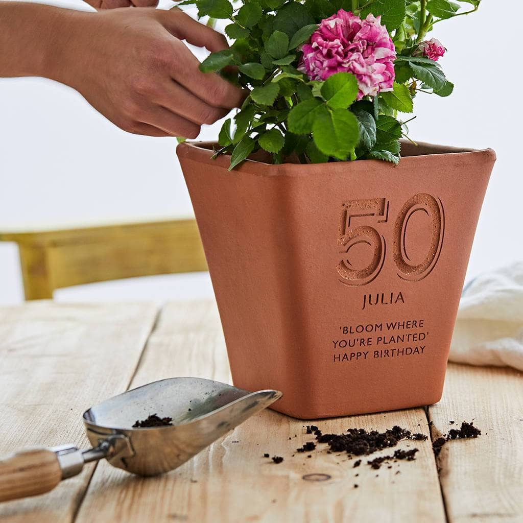 letterfest terracotta Personalised Birthday Engraved Terracotta Pot