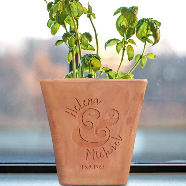 letterfest terracotta Personalised Couple's Celebration Flower Pot