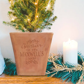 letterfest terracotta Personalised Engraved Christmas Plant Pot
