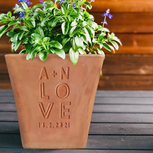 letterfest terracotta Personalised Engraved Love Plant Pot