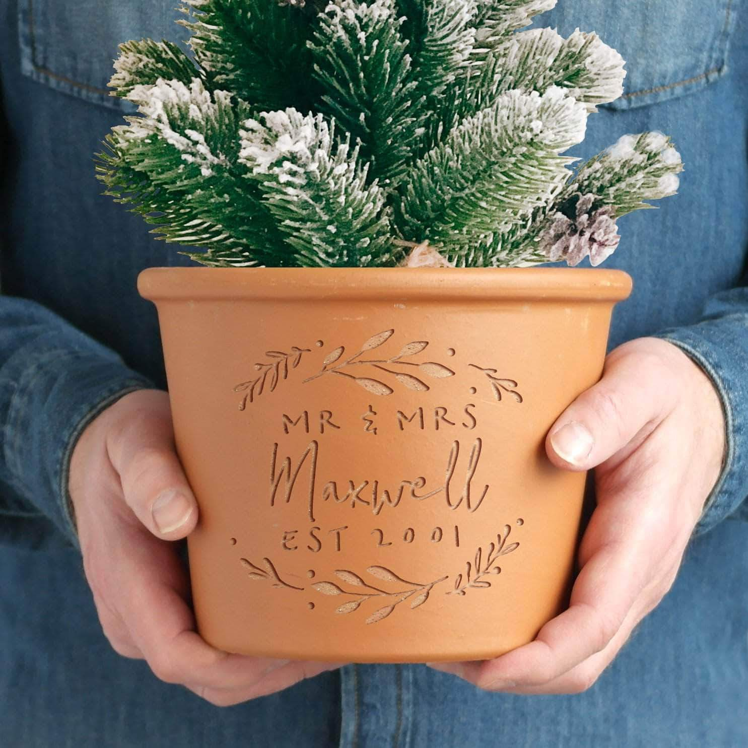 letterfest terracotta Personalised Engraved Signature Pot