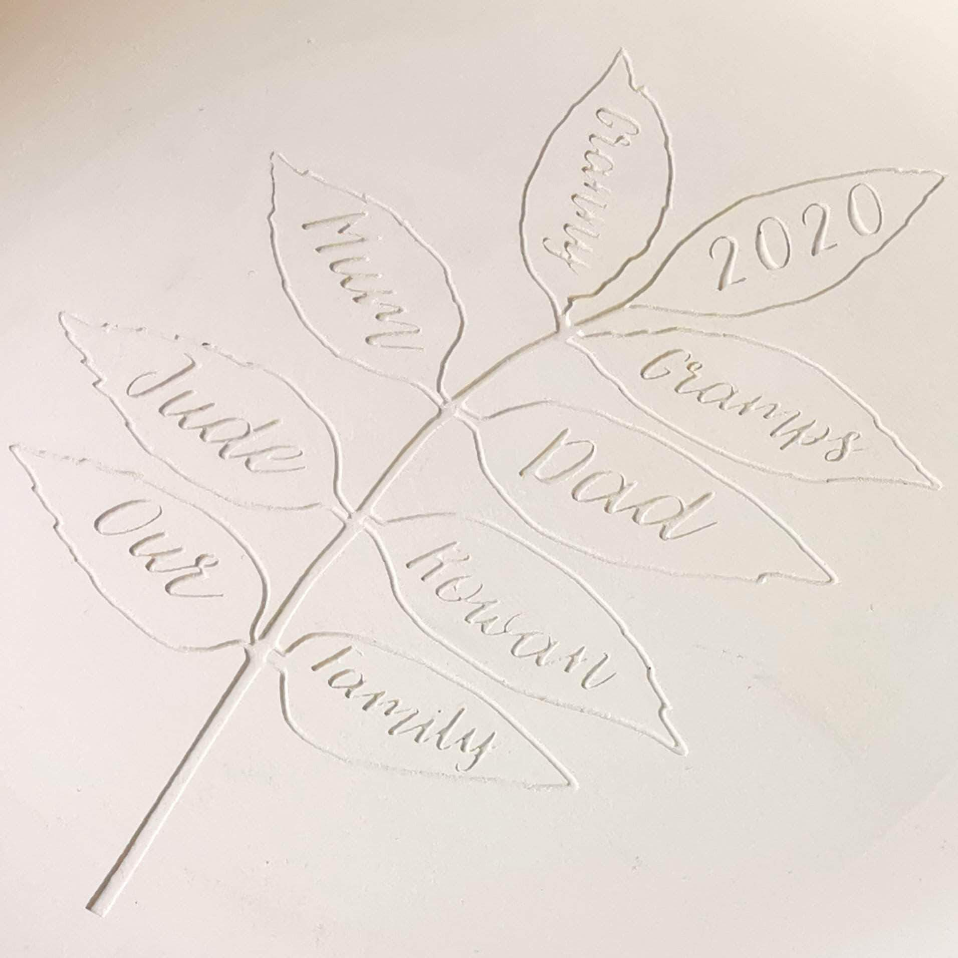 letterfest terracotta Personalised Family Tree Decorative Plate